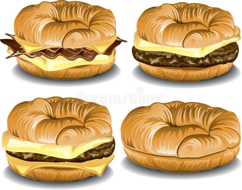 新月形面包三明治 向量例证