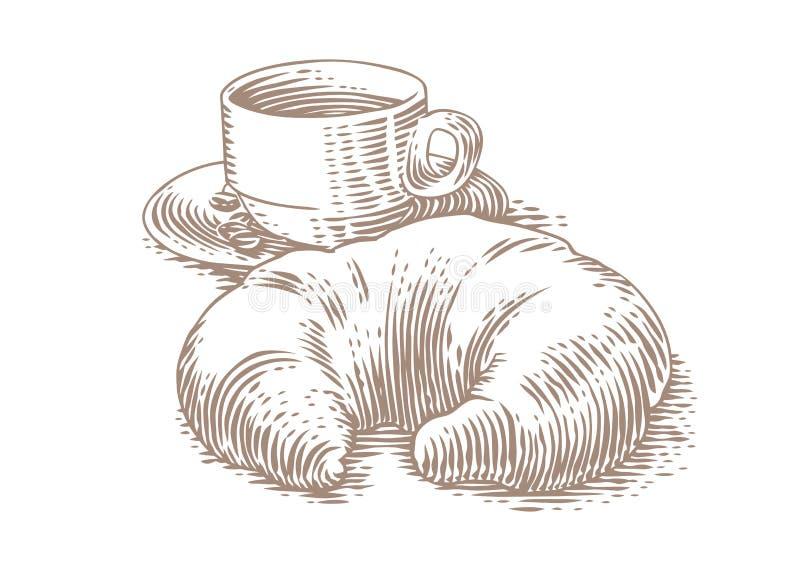 新月形面包和咖啡图画  库存图片