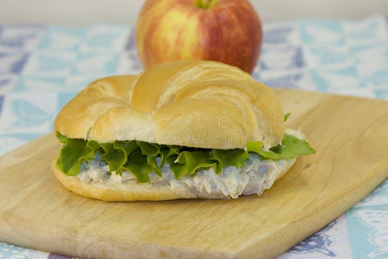 新月形面包沙拉三明治金枪鱼 库存图片