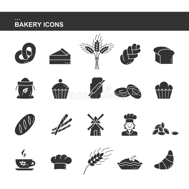 新月形面包面包,蛋糕,耳朵麦子,厨师,磨房,杯子,杯形蛋糕,椒盐脆饼,大袋面粉被隔绝的黑剪影汇集象, chal 库存例证