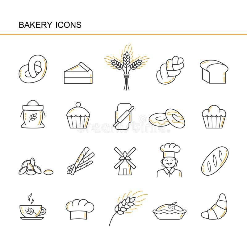 新月形面包,面包,蛋糕,耳朵麦子,厨师,磨房,杯子,杯形蛋糕,椒盐脆饼,大袋面粉, chall被隔绝的黑概述汇集象  库存例证