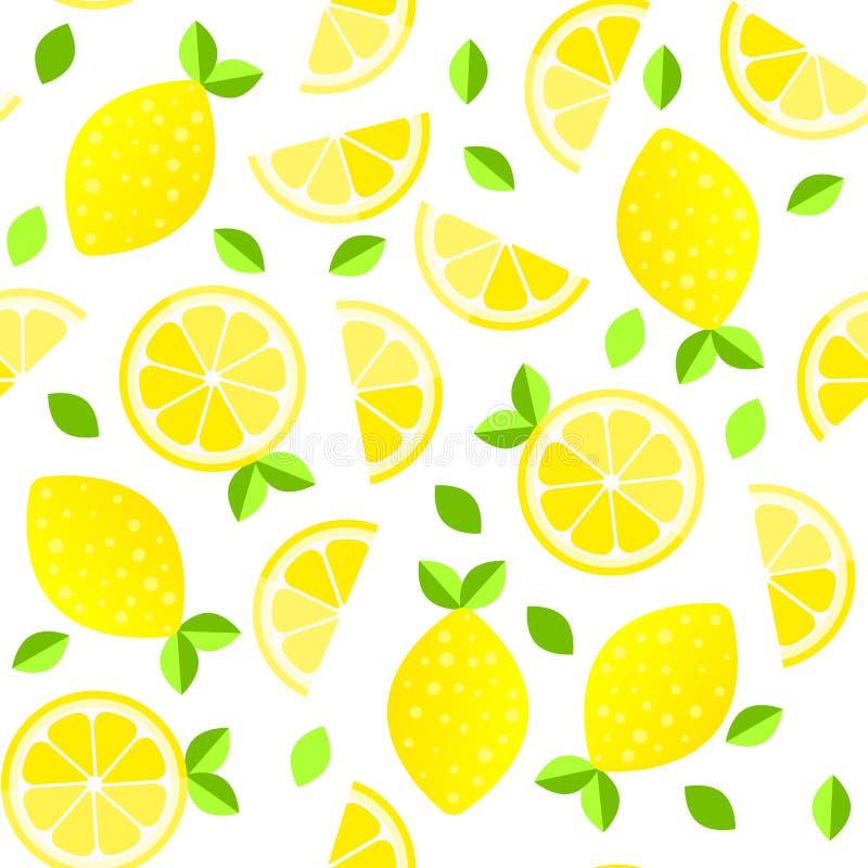 新柠檬背景 手拉的重叠的背景 五颜六色的墙纸传染媒介 无缝的样式用柑橘水果 向量例证