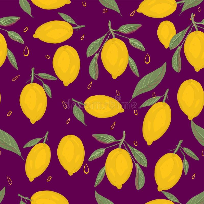 新柠檬背景 手拉的重叠的背景 库存例证