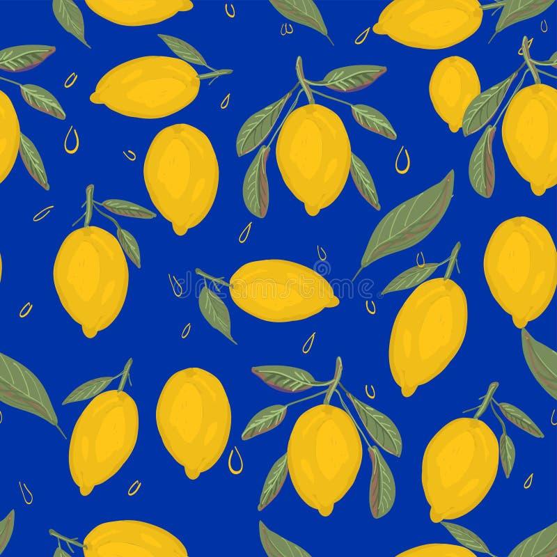 新柠檬背景 手拉的重叠的背景 皇族释放例证