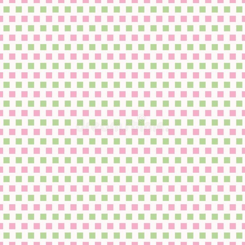 新桃红色和正方形浅绿色的行在砖重复设计的 在白色背景的无缝的几何传染媒介样式 皇族释放例证