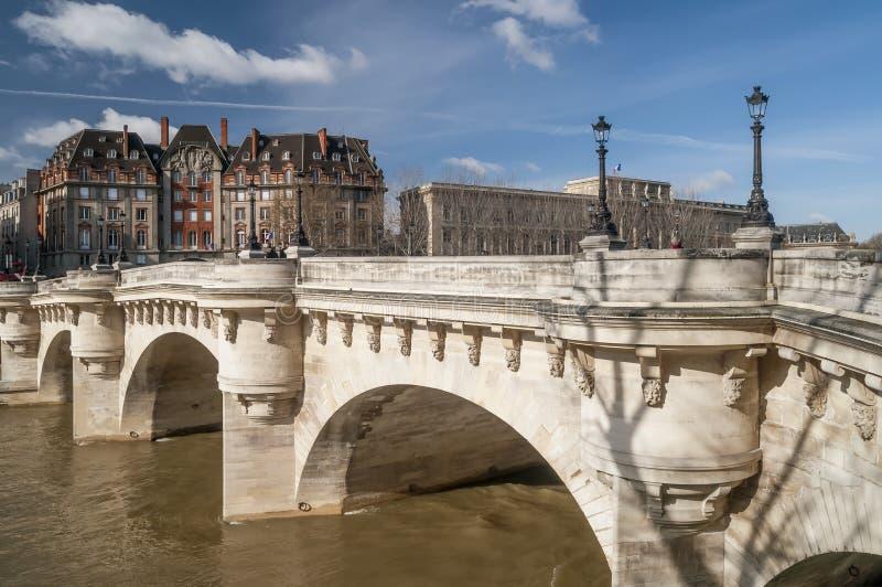 新桥的美丽的景色在巴黎,法国,在一好日子 免版税库存照片