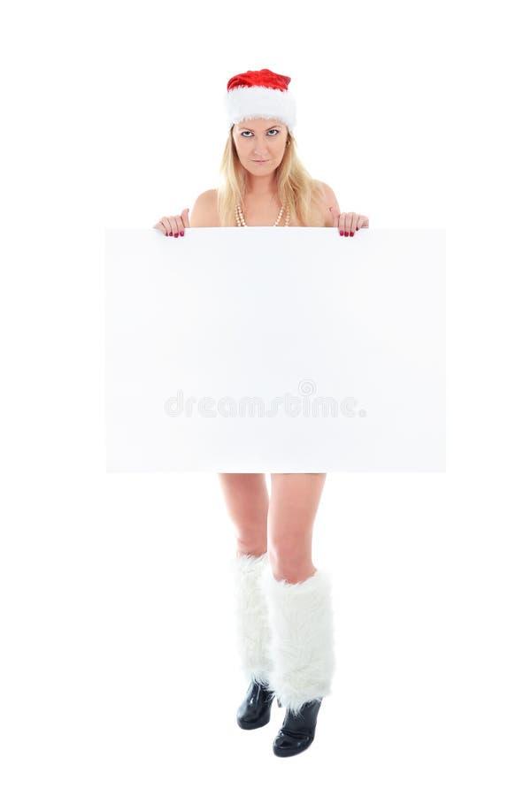 新横幅空白暂挂的圣诞老人的白人妇&# 图库摄影