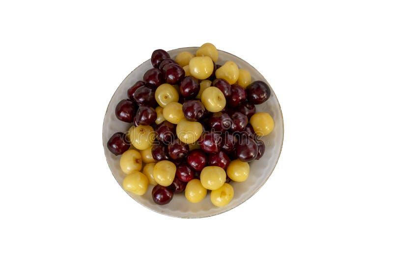 新樱桃背景 宏观细节,被隔绝的cherryes r 免版税库存图片