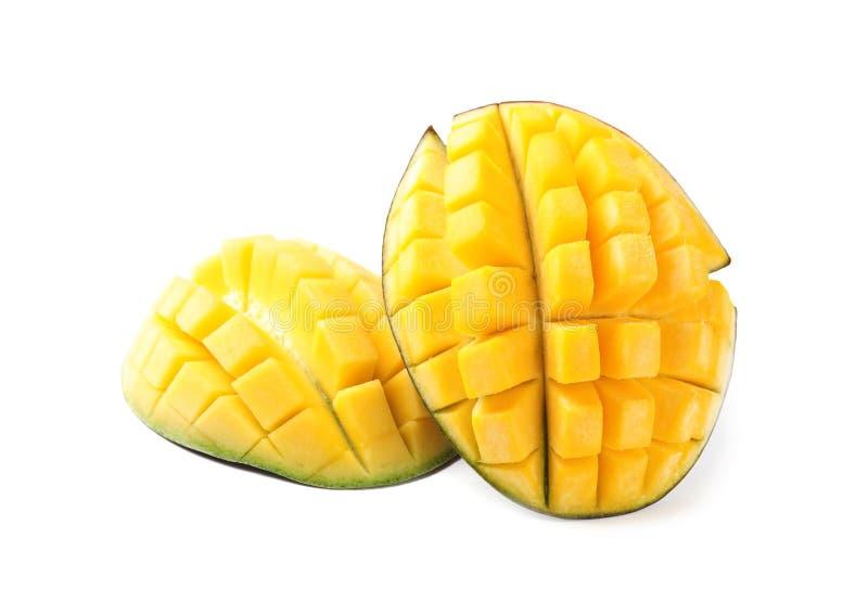 新水多的芒果一半 免版税库存图片
