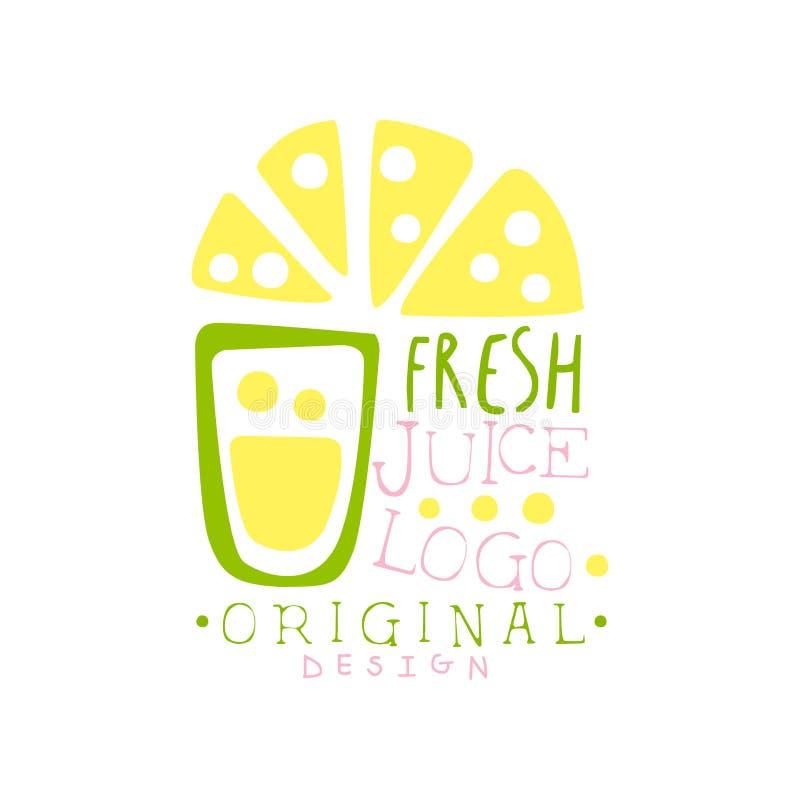 新汁液商标原始的设计,柠檬饮料标签, eco产品徽章,菜单元素五颜六色的手拉的传染媒介 库存例证
