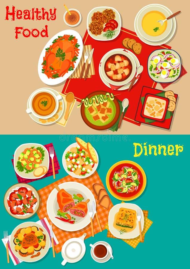 新沙拉、汤和肉盘象布景 向量例证