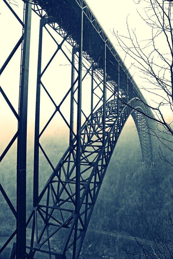 新河峡大桥在冬天 免版税库存照片