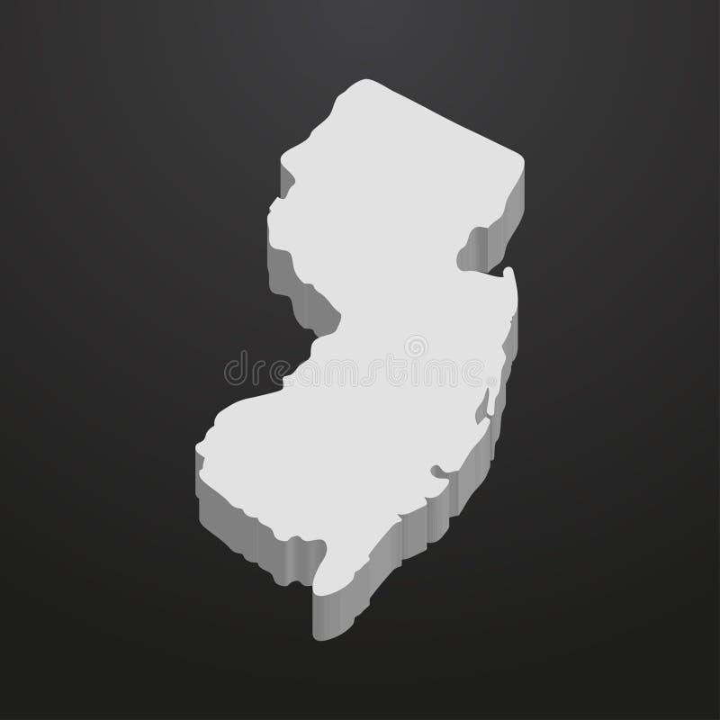 新泽西在灰色的状态地图在黑背景3d 库存例证