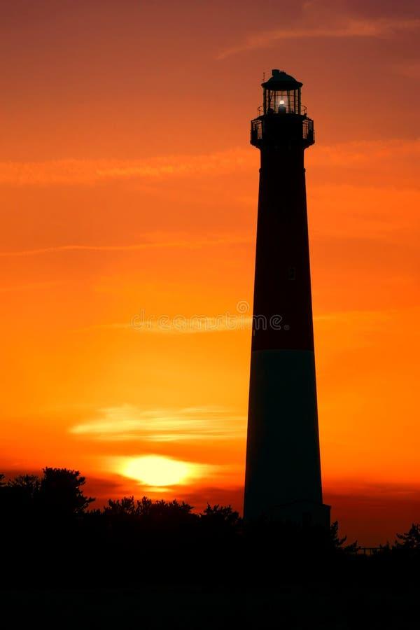 新泽西海岸在日落的Barnegat灯塔 免版税库存图片