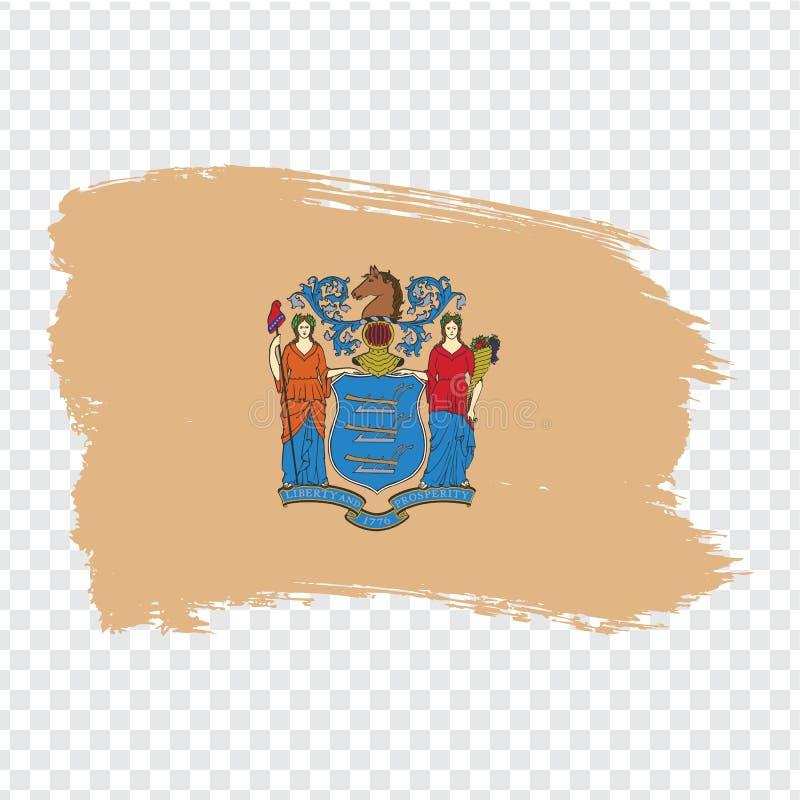 新泽西的旗子从刷子冲程的 ?? 在透明背景的旗子新泽西您的网站desi的 向量例证