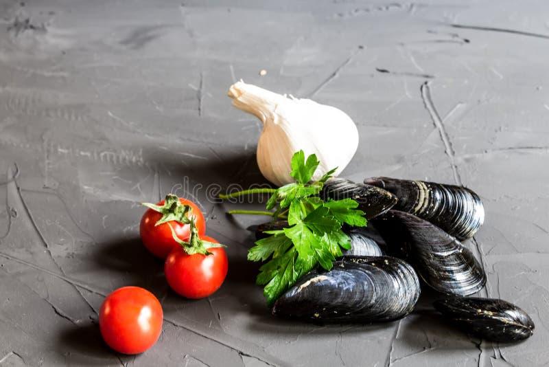 新海构成-淡菜、蕃茄、大蒜和荷兰芹在灰色背景 库存照片