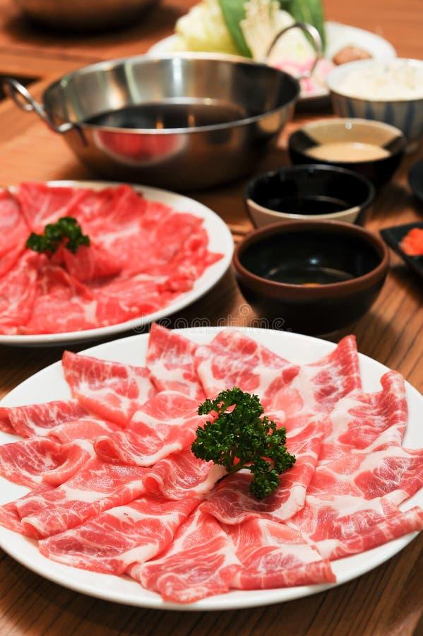 新牛肉和猪肉切片 免版税库存照片