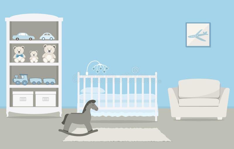 新生儿的孩子的室 一个男婴的内部卧室蓝色的 有轻便小床,与玩具的一个衣橱,扶手椅子,a 库存例证