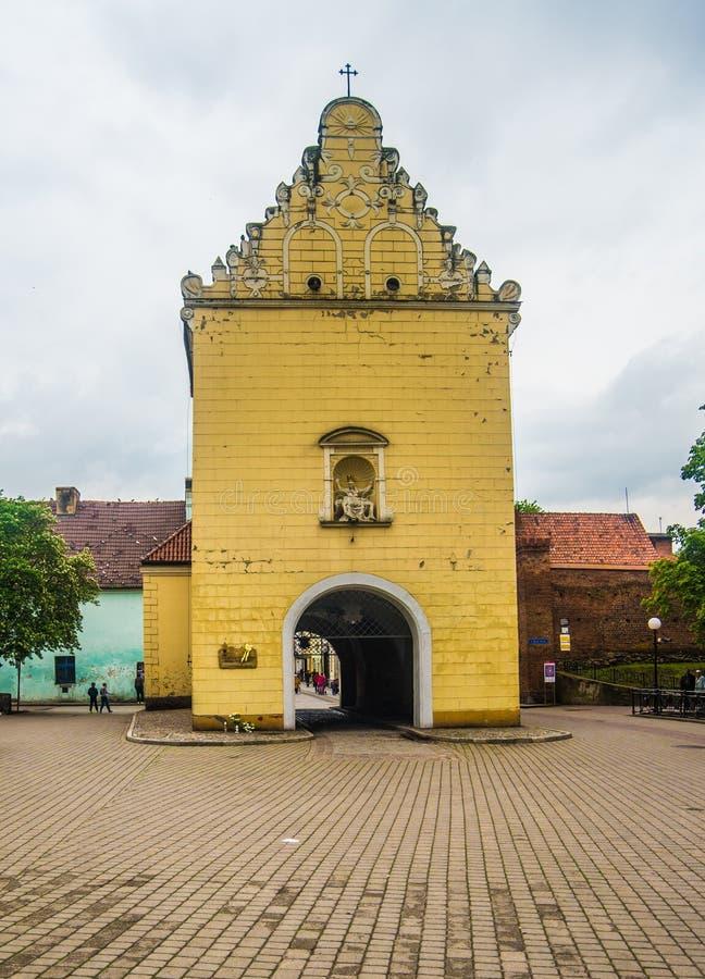 新生塔门在海乌梅克,波兰 免版税库存图片