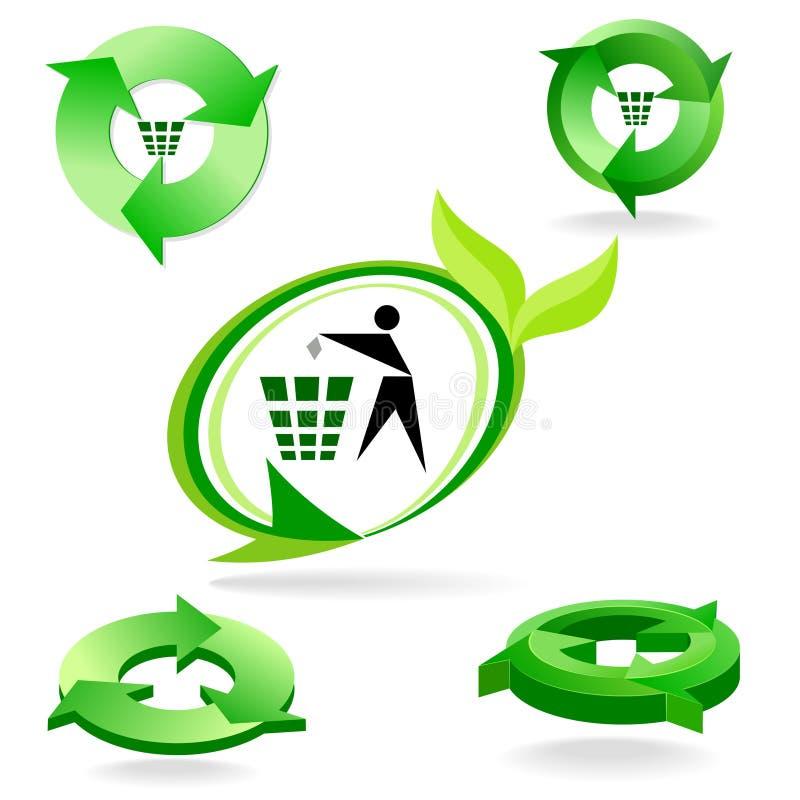 新生物绿色的图标回收符号 向量例证