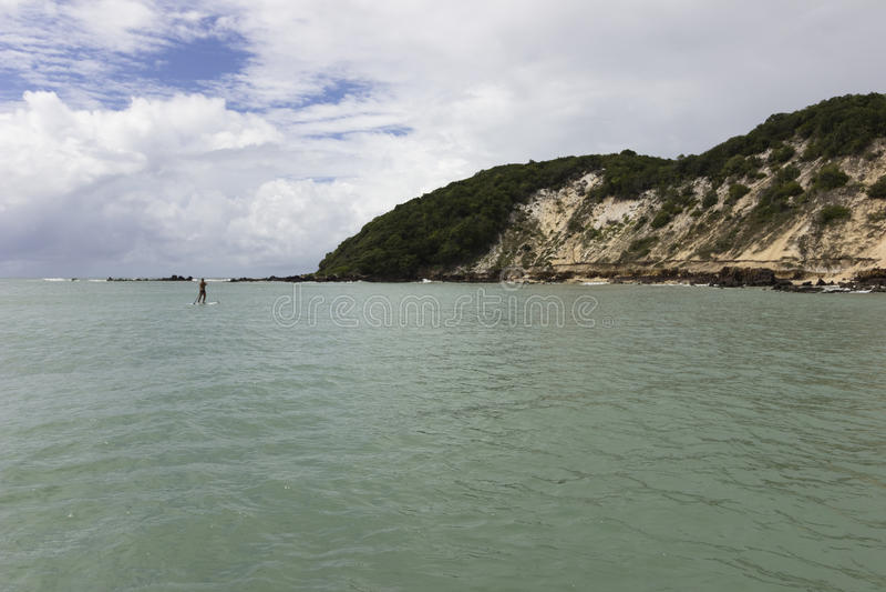新生Ponta内格拉的海滩, RN,巴西 库存照片