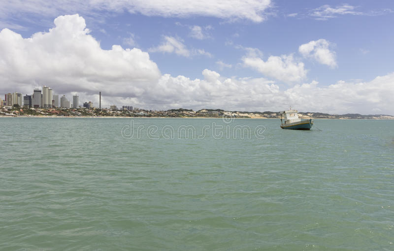 新生Ponta内格拉的海滩, RN,巴西 免版税库存照片