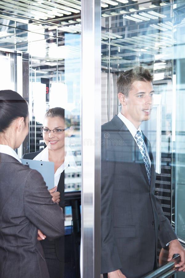 新电梯的成员 免版税库存图片