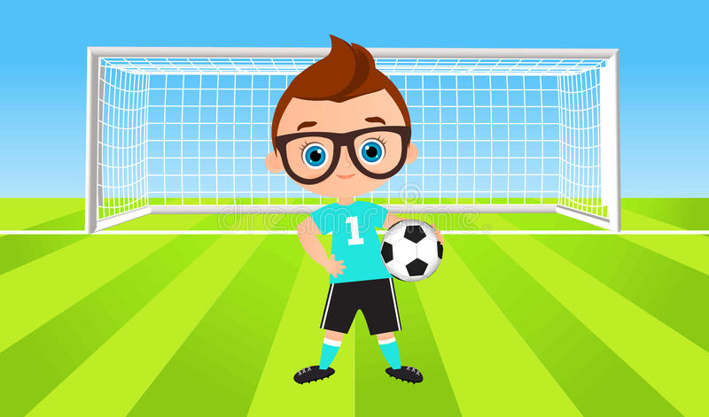 新男孩 橄榄球孩子使用 导航在白色背景eps 10隔绝的例证 平的动画片样式 库存例证