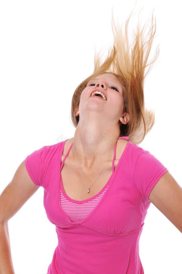 新白肤金发的吹的头发 库存图片