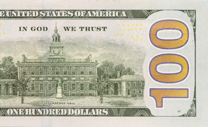 新的一百元钞票的后面右中卫 免版税图库摄影