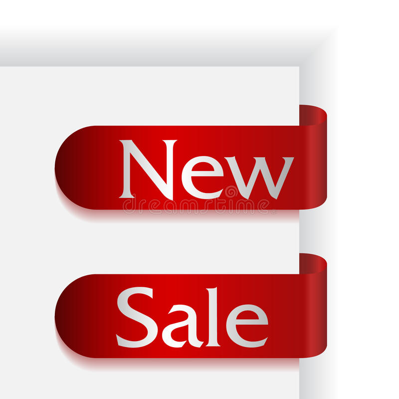 新的丝带销售额设置了二个词 库存照片