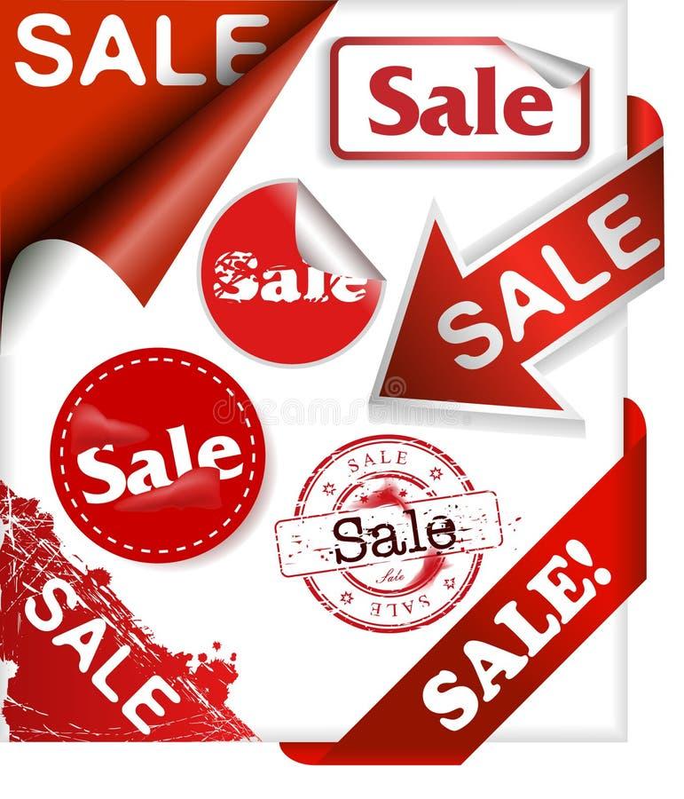 新的丝带销售额设置了二个词 免版税库存图片
