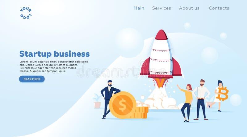新的事务的概念起始的发射网页的,横幅,介绍,社会媒介,企业项目开始  向量例证