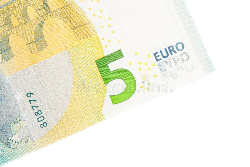 新的五欧元钞票后部 库存图片