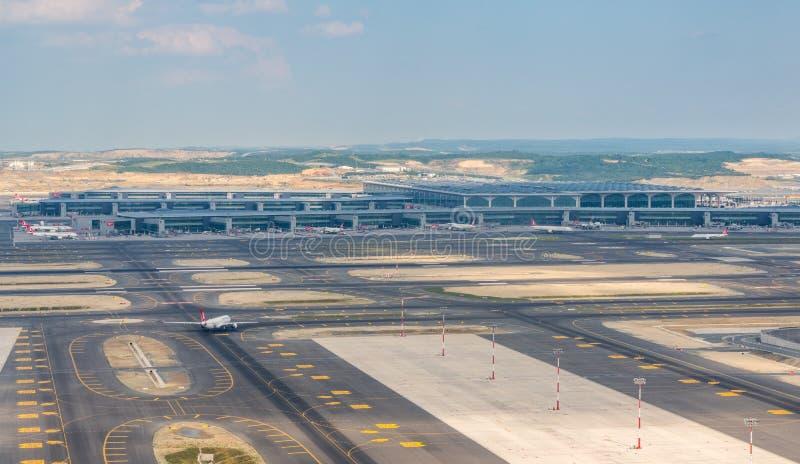新的伊斯坦布尔机场鸟瞰图在土耳其 库存照片