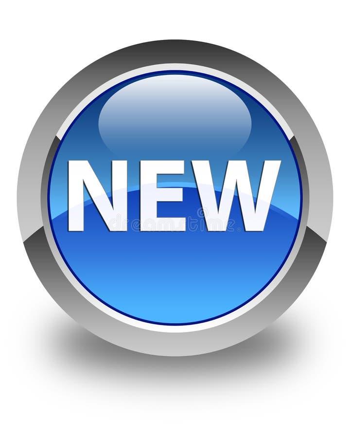 新的光滑的蓝色圆的按钮 库存例证