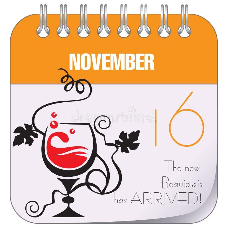 新的博若莱红葡萄酒到达了 皇族释放例证