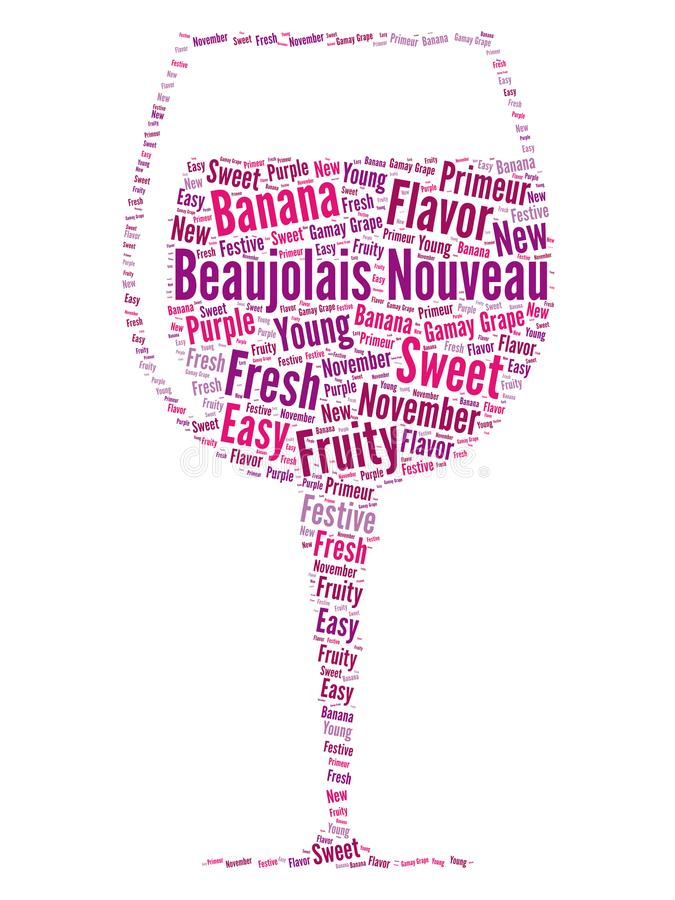 新的博若莱红葡萄酒酒词云彩概念 皇族释放例证