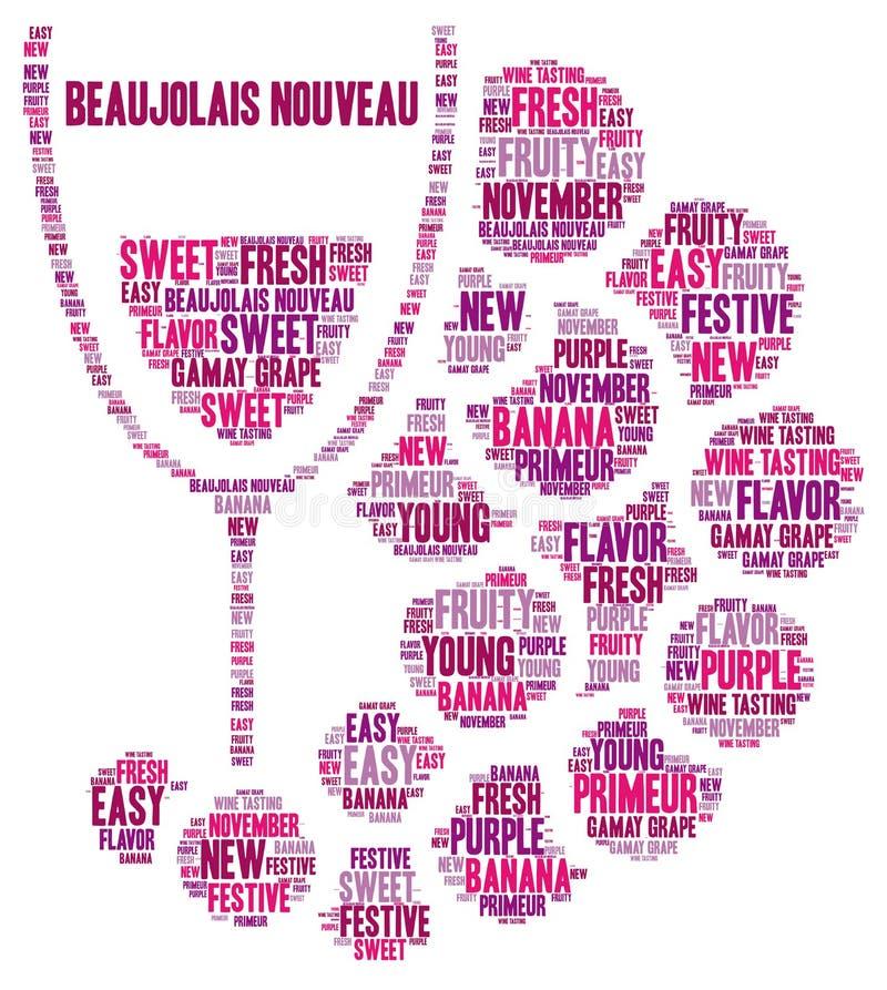 新的博若莱红葡萄酒酒词云彩 库存例证