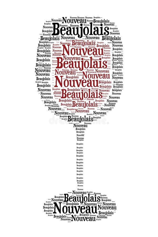 新的博若莱红葡萄酒酒 向量例证