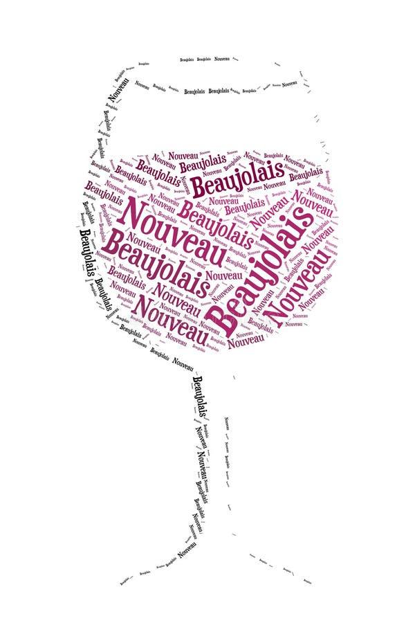 新的博若莱红葡萄酒酒 库存例证