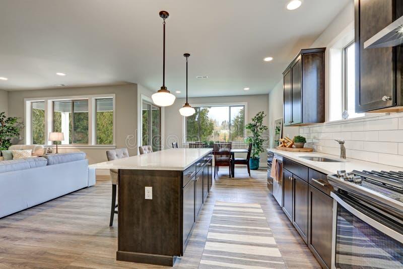 新的厨房吹嘘黑暗的木内阁,大海岛 免版税库存照片