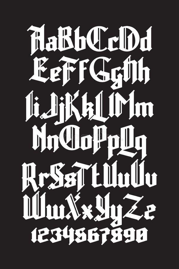 新的现代习惯哥特式字体 充分的字母表设置与数字图片