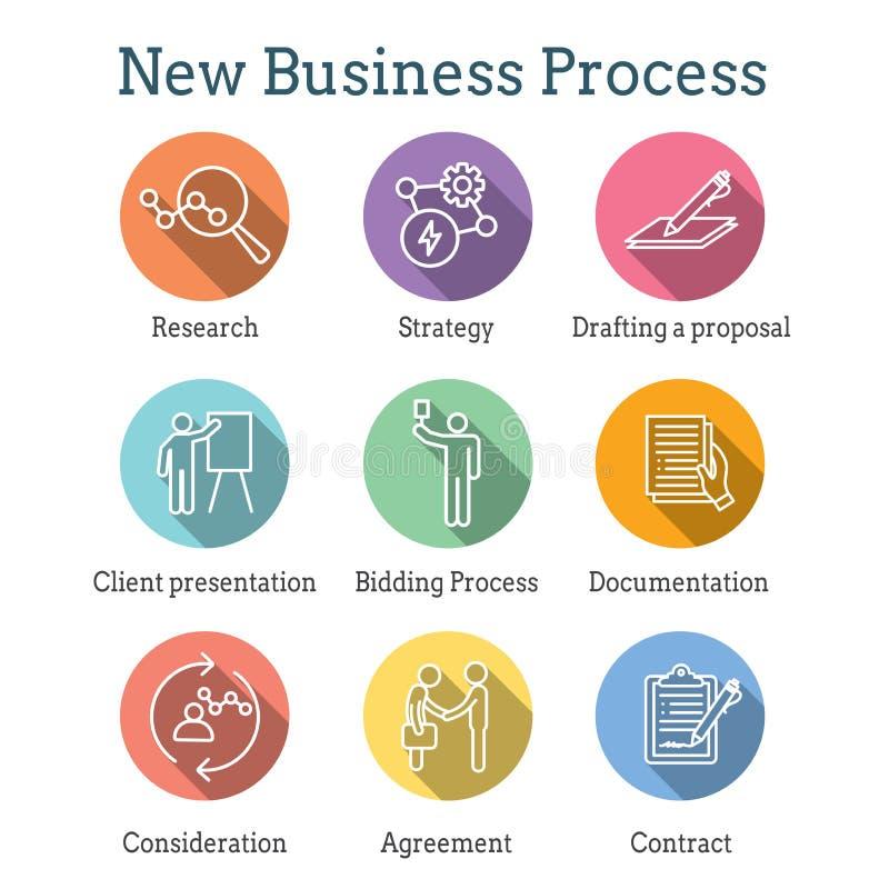 新的商业运作象设置与出价过程,提案,合同 库存例证