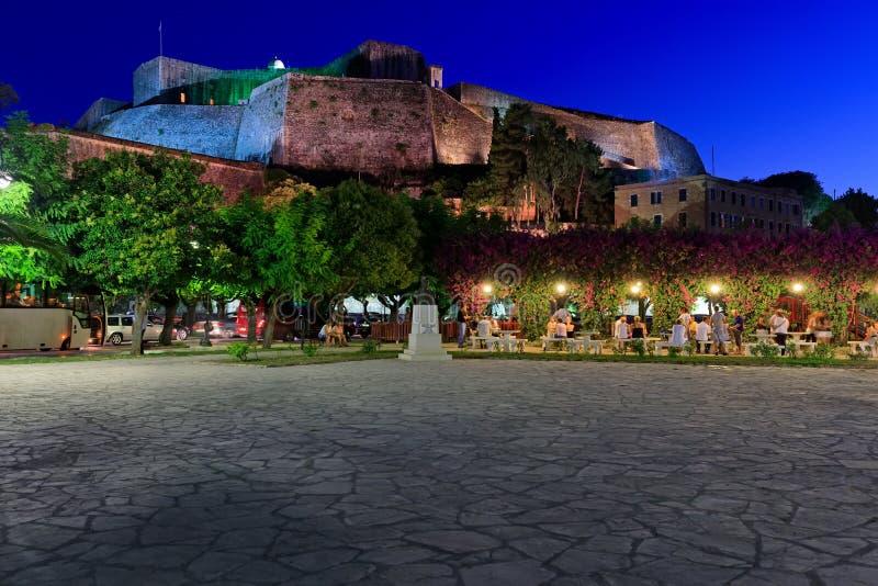 新的堡垒在晚上, Kerkyra, Corfu 免版税图库摄影