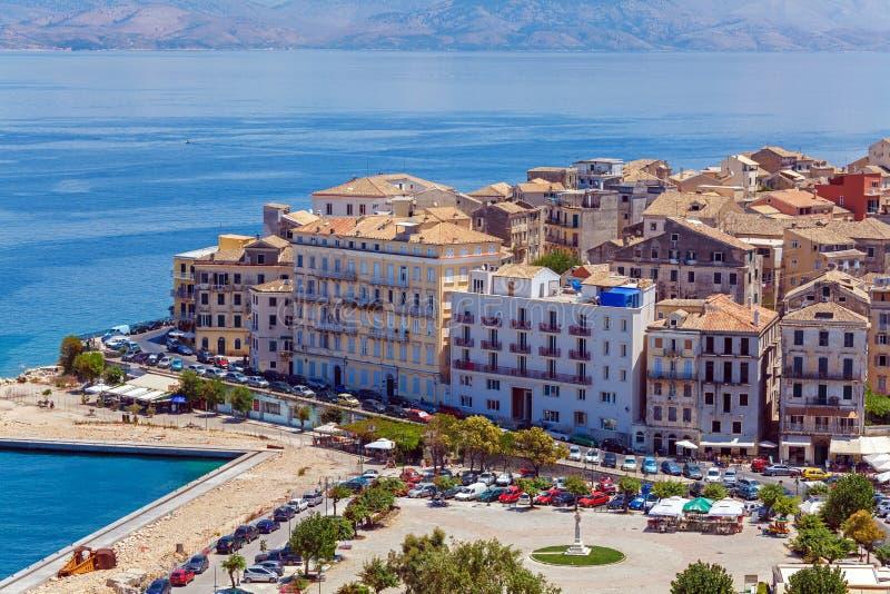 从新的堡垒Kerkyra,科孚岛海岛,希腊的鸟瞰图 库存图片