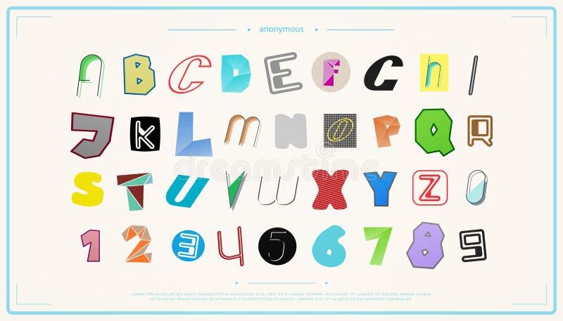 新的套被隔绝的,匿名样式字母表信件和数字 向量例证