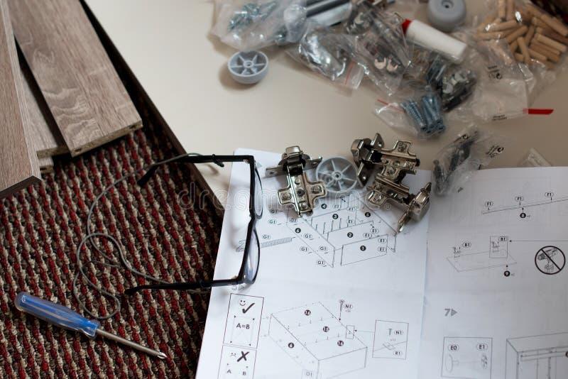 新的家具设施的准备 免版税库存图片