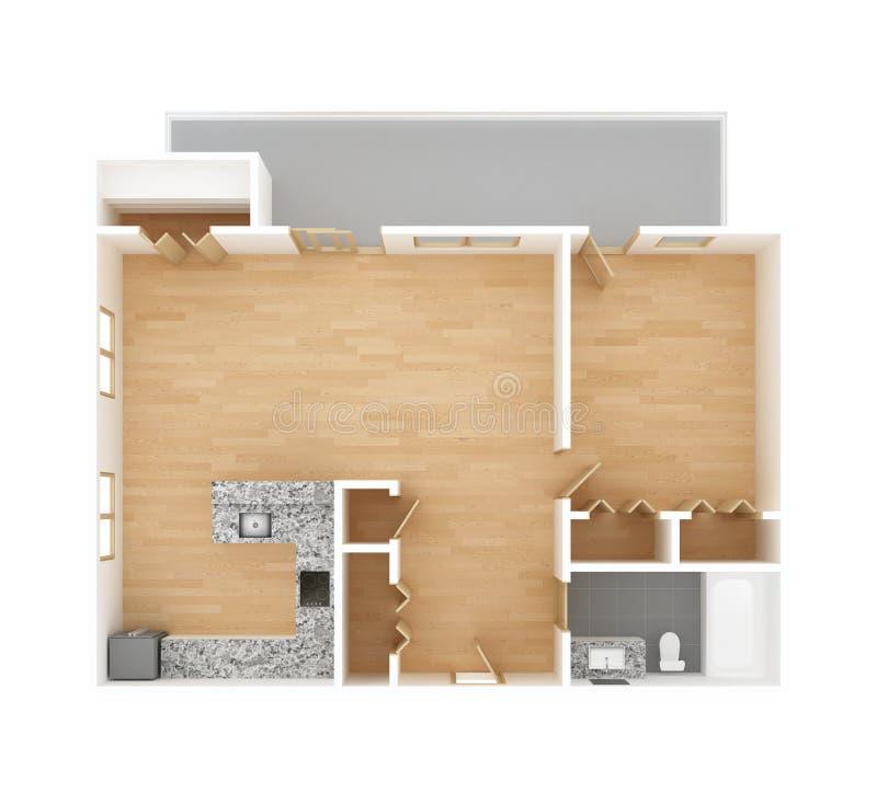 新的家庭楼面布置图顶视图 免版税库存照片
