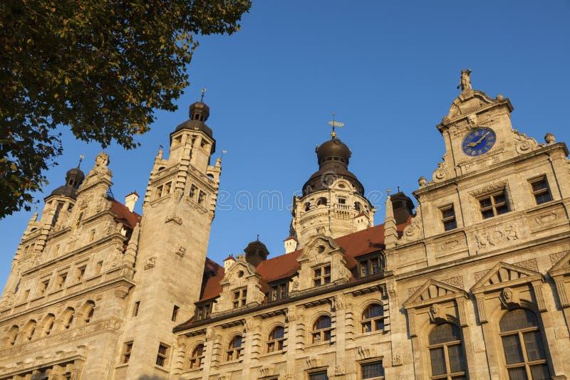 新的市政厅在莱比锡 免版税库存照片